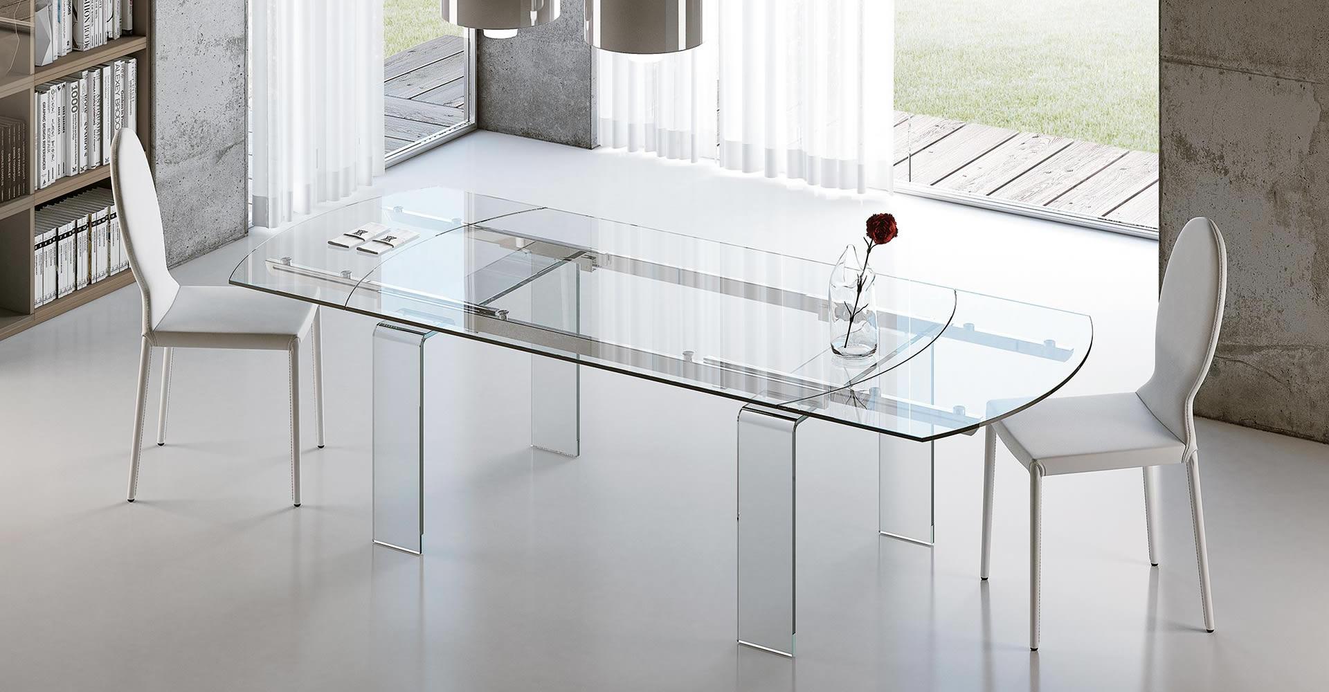 Tavolo allungabile con piano in vetro Lord - Riflessi